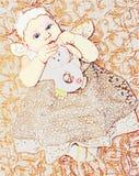 Immagine di vettore della bambina in vestito royalty illustrazione gratis