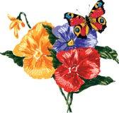 Immagine di vettore delle viole del pensiero e della farfalla Tutti gli oggetti isolati Fotografia Stock