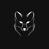Immagine di vettore di una progettazione della volpe su un fondo nero Immagini Stock