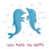 Immagine di vettore di saltare dei delfini dell'acqua royalty illustrazione gratis