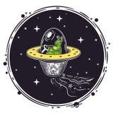Immagine di vettore di uno straniero in un disco volante Emblema rotondo royalty illustrazione gratis
