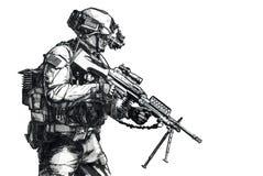 Immagine disegnata a mano del guardia forestale dell'esercito Immagine Stock Libera da Diritti