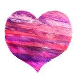 Immagine disegnata a mano dell'acquerello di un cuore Fotografie Stock Libere da Diritti