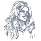 Immagine disegnata a mano di vettore monocromatico, giovane donna di flirt nero illustrazione vettoriale