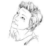 Immagine disegnata a mano di vettore monocromatico, tatto della giovane donna spiacente circa Fotografia Stock Libera da Diritti
