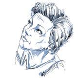 Immagine disegnata a mano di vettore monocromatico, tatto della giovane donna spiacente circa Fotografia Stock