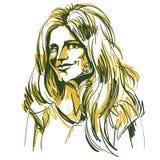 Immagine disegnata a mano di vettore variopinto, giovane donna di flirt artistico royalty illustrazione gratis