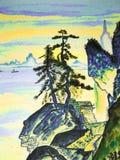 Immagine disegnata a mano, nelle tradizioni di vecchia arte cinese Fotografia Stock