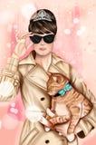 Immagine disegnata a mano - ragazza che indossa attrezzatura elegante, occhiali da sole neri e tenente un gatto royalty illustrazione gratis