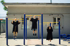 Immagine divertente di graduazione Fotografia Stock Libera da Diritti