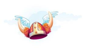 Immagine divertente di un casco di vichingo Fotografia Stock