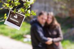Immagine e genitori di ultrasuono fotografia stock libera da diritti