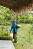Immagine editoriale documentaria Ritratto dell'agricoltore anziano di balinese Fotografie Stock