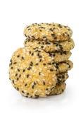 Immagine estrema del primo piano dei biscotti del sesamo Immagini Stock