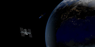Immagine estremamente dettagliata e realistica di alta risoluzione 3D di una terra orbitante satellite Sparato da spazio royalty illustrazione gratis