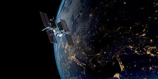 Immagine estremamente dettagliata e realistica di alta risoluzione 3D di una terra orbitante satellite Sparato da spazio illustrazione di stock