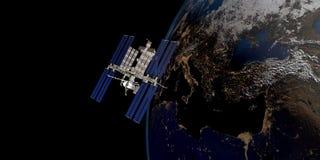 Immagine estremamente dettagliata e realistica di alta risoluzione 3D di una terra orbitante satellite Sparato da spazio illustrazione vettoriale
