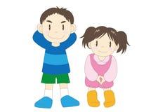 Immagine felice delle famiglie - bambini illustrazione di stock
