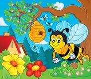 Immagine felice 3 di argomento dell'ape della molla Fotografia Stock Libera da Diritti