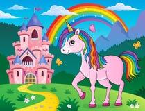Immagine felice 2 di argomento dell'unicorno illustrazione vettoriale
