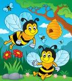 Immagine felice 1 di tema delle api della molla Immagine Stock
