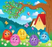 Immagine felice 4 di tema delle uova di Pasqua Fotografia Stock