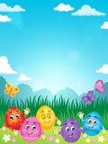 Immagine felice 2 di tema delle uova di Pasqua Fotografie Stock Libere da Diritti