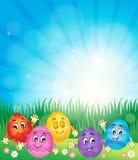 Immagine felice 1 di tema delle uova di Pasqua Fotografie Stock Libere da Diritti