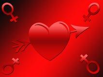 Immagine femminile del biglietto di S. Valentino di simbolo Immagine Stock