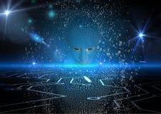 Immagine generata Digital dell'essere umano 3d sopra fondo d'ardore astratto Fotografia Stock