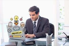 Immagine generata Digital dell'uomo d'affari facendo uso del computer portatile con le varie icone in ufficio Fotografie Stock Libere da Diritti