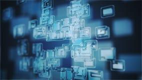 Immagine generata Digital di luce blu e delle bande che si muovono velocemente immagine stock