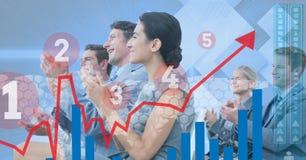 Immagine generata Digital di vari grafici con la gente di affari nel fondo Fotografie Stock Libere da Diritti