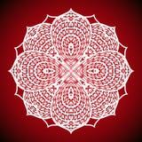 Immagine geometrica della mandala su fondo rosso Fotografie Stock Libere da Diritti