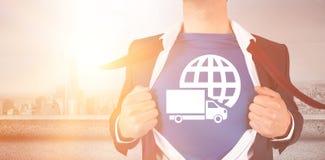 Immagine grafica di stile del supereroe della camicia di apertura dell'uomo d'affari Fotografie Stock Libere da Diritti