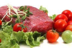 Immagine grezza e verdure del manzo Fotografia Stock
