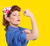 Immagine iconica di un operaio femminile Fotografia Stock
