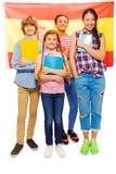 Immagine integrale dei bambini con la bandiera dello Spagnolo Fotografia Stock Libera da Diritti