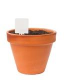 Immagine isolata il vaso di fiore con l'etichetta Fotografia Stock Libera da Diritti
