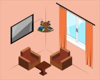Immagine isometrica del salone Immagini Stock Libere da Diritti