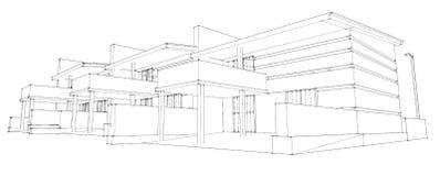 Prospettiva moderna della casa di architettura e una for Schizzo di piani di casa gratuiti