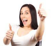 Immagine luminosa della ragazza adorabile con i pollici su Immagine Stock Libera da Diritti