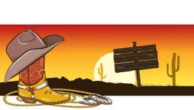 Immagine occidentale con i vestiti ed il paesaggio del cowboy Immagine Stock Libera da Diritti