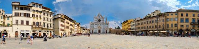 Immagine panoramica dei Di Santa Croce della piazza a Firenze Fotografie Stock Libere da Diritti