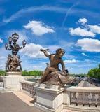 Immagine panoramica del ponte Pont Alexandre III a Parigi Fotografia Stock