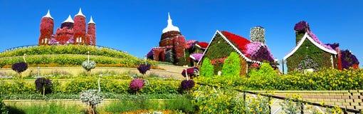 Immagine panoramica di un giardino floreale contro un blu immagine stock libera da diritti