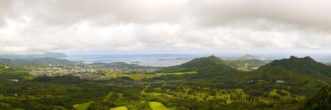 Immagine panoramica di una valle tropicale stretta Fotografia Stock
