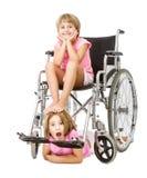 Immagine pazza di handicap per una coppia di bambini fotografia stock