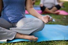 Immagine potata dell'istruttore che medita mentre sedendosi con gli istruttori Immagine Stock