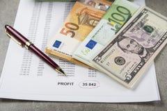 Immagine profitti e perdite di concetto di una penna, di un calcolatore e delle monete sui documenti finanziari fotografia stock
